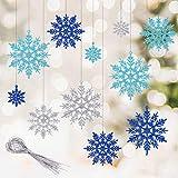 Kiiwah 30 adornos de copo de nieve de Navidad, copo de nieve colgante con purpurina para decoración de árbol de Navidad y guirnalda (azul, azul claro, plata)