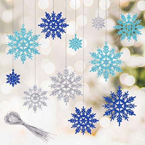 Kiiwah 30 Stück Schneeflocken Weihnachten Deko, Glitzer Schneeflocke Anhänger Schneeflockendeko für Weihnachtsbaumschmuck (Blau, Hellblau, Silber)