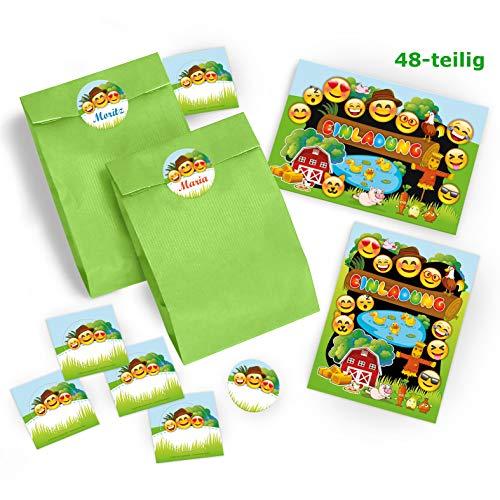 12 Einladungskarten Geburtstag Kinder Bauernhof für Mädchen Jungen incl. 12 Umschläge, 12 Tüten / grün, 12 Aufkleber / bunte Einladungen / Geburtstagseinladungen / Karten Set / Tiere Bauernhoftiere