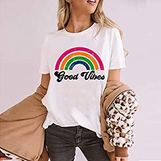 Cqqz 2020 European And American Summer Women's Top Rainbow Good Vibes Letter Printed Round Neck T-shirt For Women(White, S)