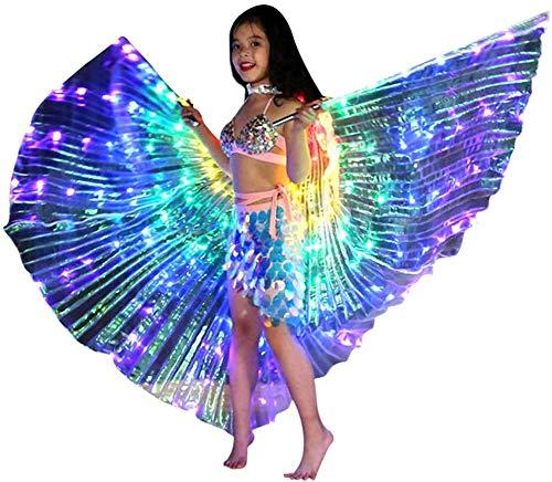 QUEENBACK Kinder Tanzende Mantel, LED Leuchtend Schmetterling Flügel Bauchtanzen Karneval Performance Stütze - B, One Size