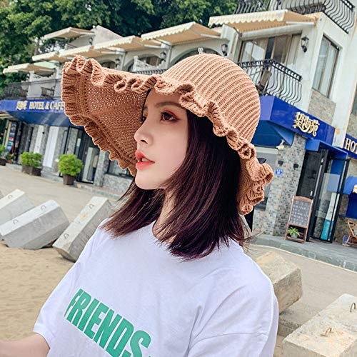 SJIUH Sunhat Summer Big Brim Sun Hat para mujer Sunhat plegable protección UV, K61, Caramel