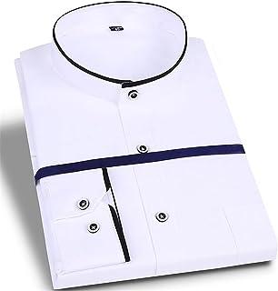 WZHZJ Automne hommes à manches longues formelle col montant chemise habillée affaires doux non-iro travail chemise décontr...