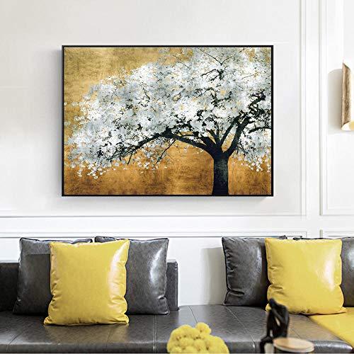 Vintage folie, goudkleurige bomen, borden, muurkunst, canvasdruk, landschap schilderen, woonkamer, wanddecoratie, 60 x 90 cm, zonder lijst