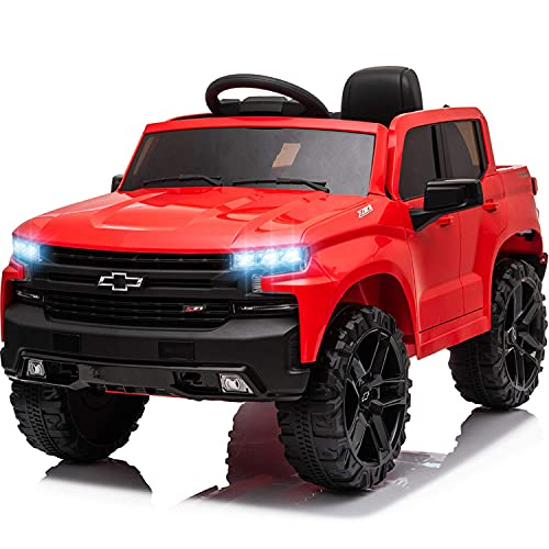 Little Brown Box 12V Licenced Chevy Silverado Ride On Truck for Kids to Drive -...