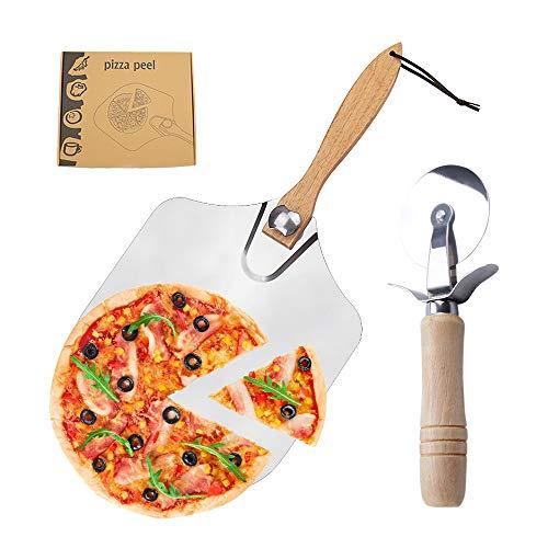 Gobesty Pala Pizza, Deslizador de Pizza de Aluminio Paleta para Pizza con Mango de Madera Desmontable, Cortador de Pizza Corta Pizzas de Acero Inoxidable para Hornear Pizza, Pastel, Galletas, 30,5 cm