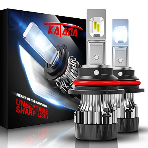 KATANA 9007 LED Bulbs w/Mini Design,6500K Cool White Bright All-in-One Conversion Kit of 2 Halogen Replacement