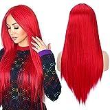 YMHPRIDE Peluca de cosplay larga y recta para mujer, peluca sintética de fiesta de color rojo de 22 pulgadas a la moda