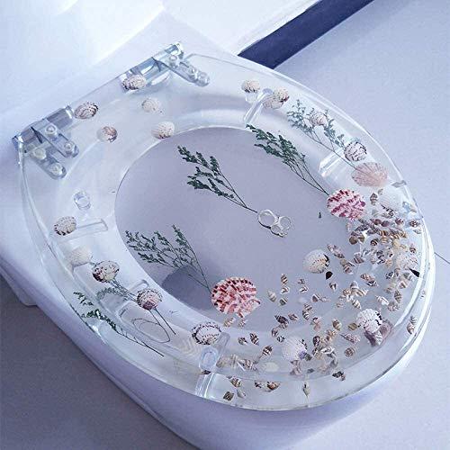 WUZHOOA Toilettensitze, Deckel mit Absenkautomatik, Kunstharz, 3D-Effekt, robuster Toilettendeckel mit echten Blumen Muscheln und Sand für U/V/O-Typ (Farbe: A)