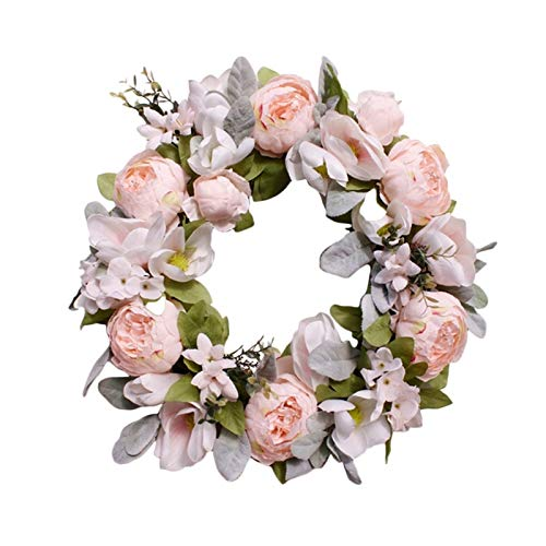 JXHYKJ Spring Wreath Artificial Peony Flower Wreath for Front Door Window Outdoor Wedding Decorations