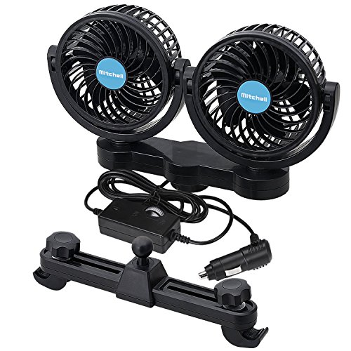 Fansport 2 Geschwindigkeits-Doppelkopf 12V Auto Kühlungs Ventilator 360 Grad drehbarer Doppelkopf