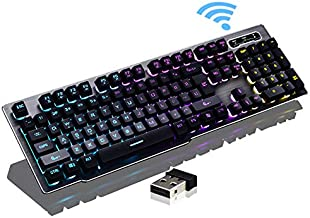 Guanwen Gaming Keyboard,Mechanical Brown Switch White Backlit Crystal Floating Keycap Wired USB Metal Ergonomic Keyboard for PC Laptop Computer Mac