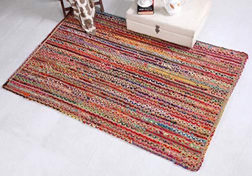 Mishran Eco Friendly - Alfombra de tejido plano con yute natural y material reciclado multicolor 75 cm x 120 cm