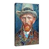 Póster de autorretrato del famoso pintor Van Gogh en lienzo para decoración de pared, impresión de cuadros para sala de estar o dormitorio, 50 x 75 cm, estilo de marco 1
