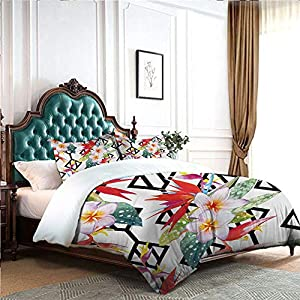 DRAGON VINES 4 Bedding Cover Set Pillow case Home Textile Series Bedding Beautiful Vibrant Colored Exotic Flowers on Absract Shapes Natural Way of Life Blue Bed Sheet White Multicolor