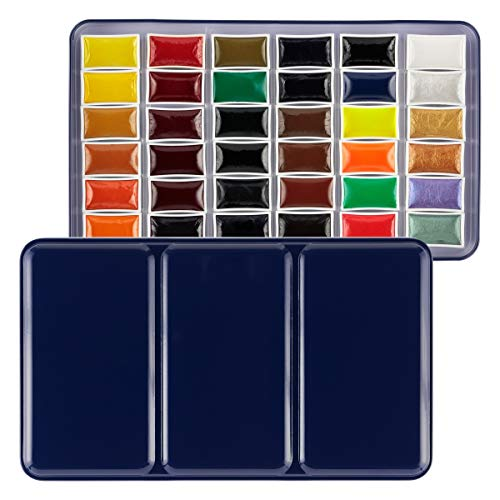SoHo Urban Artist E-Z Lift Watercolor Paint Set of 36, Whole Pan, Easy to Lift Semi-Moist, Rich Consistency, Concentrated Vivid Color Pigments - 36 Assorted Colors