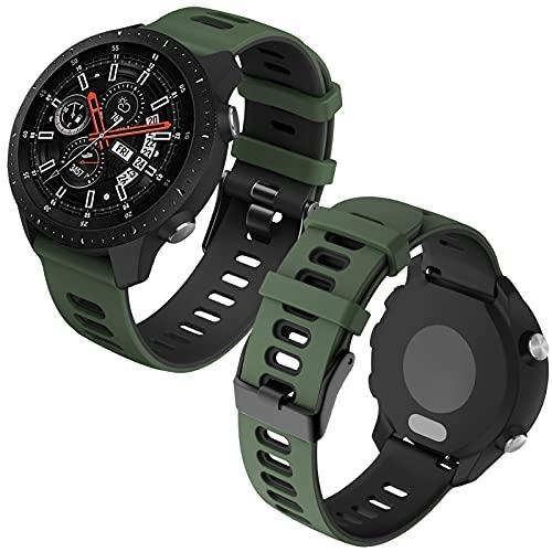 Th-some 22mm Repuesto de Correa para Samsung Galaxy Watch 3 (45mm)/Gear S3 Frontier/Classic/Galaxy Watch 46mm/Huawei GT/GT2 46mm, Banda de Reloj de Silicona Bicolor Ajustable (Verde militar negro)