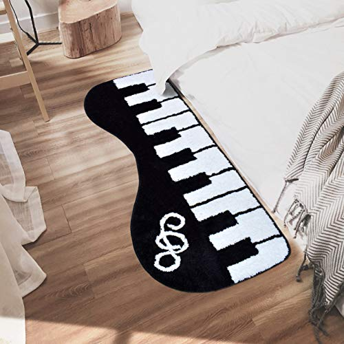 Abreeze Stylish Music Rug Piano Rug Keyboard Music Rug Kids Play Rug Black and White Rug for Living Room/Kitchen/Bathroom/Corridor/Hallway