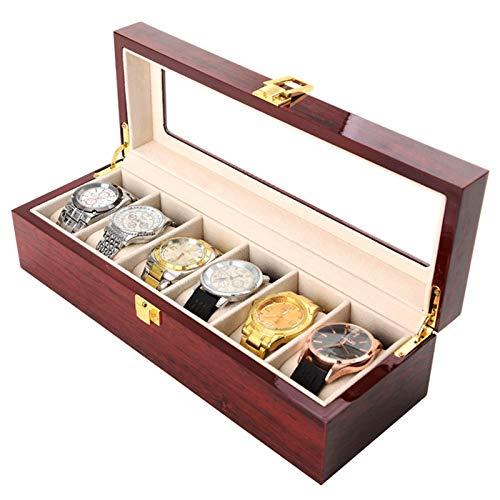 Boîte de Rangement de Montre 6 Fentes étui de Support de Montre Peinture en Aérosol Rouge Vif Bijoux en Bois Massif Bracelet de Collection Organisateur avec Couvercle en Verre