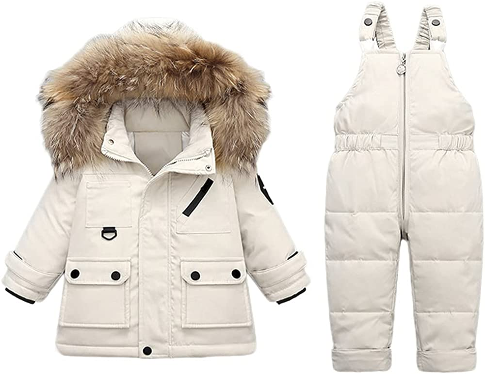 Max 75% OFF JELEUON Baby Girls Two Piece Winter Trim Snowsui Purchase Fur Warm Hooded