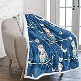 Owl Kids Blanket Sherpa Fleece Blanket Throw Size Fuzzy Flannel Blanket for Spring/Summer Soft Fleece Sofa Couch Blanket TV Bed Blanket to Kids 50'x 60'