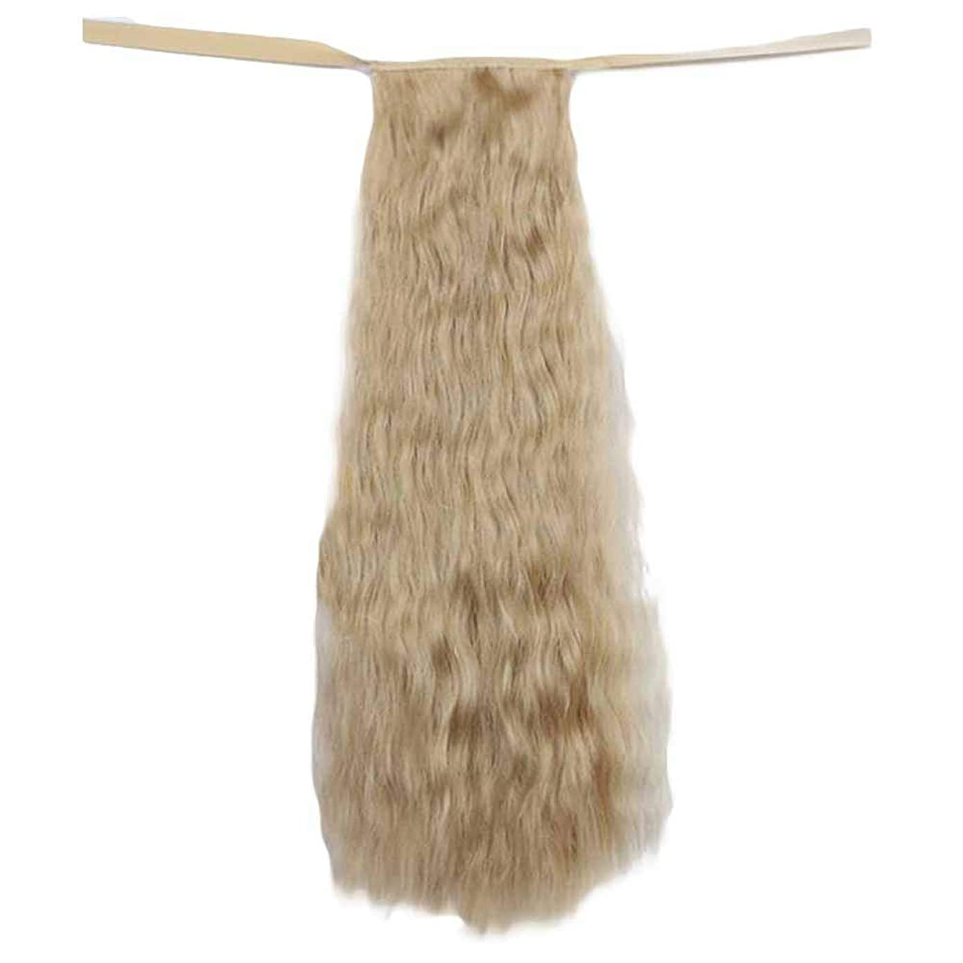 ピカリング伝統的容疑者ブロンドヘア50センチメートル長いカーリーヘアウィッグ合成ヘアウィッグヘアエクステンションポニーテール