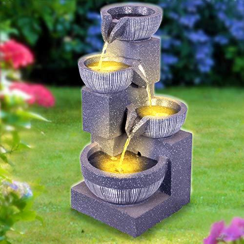 profi-pumpe.de Gartenbrunnen Brunnen Zierbrunnen Zimmerbrunnen Springbrunnen Brunnen Wasser-Spiel mit LED-Licht 230V Wasserfall Wasserspiel für Garten