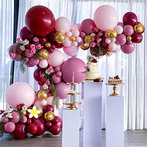 Kit de Guirnaldas de Globos, TOLOYE Guirnalda de Arco de Látex Globos Confeti de Oro Rosa Rojo Vino con Flores Artificiales,Globos para Cumpleaños Baby Shower Boda Fiesta Damas Niña