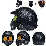 Casco moto in pelle Harley anti nebbia UV protezione integrale moto Caschi con lente moto Motorcross Caps per Outdoor Racing ciclismo mountain bike