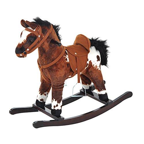 homcom Cavallo a Dondolo Giocattolo per Bambini con Effetti Sonori Legno 71 × 28 × 60cm Marrone Scuro