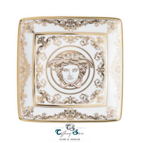 Versace, Schale, flach, viereckig, 12 cm Medusa Gala.