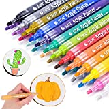 Acrylic Paint Pens, Morfone Markers 24 Colors Water Based Pen for Rock Painting, Canvas, Glass, Ceramic, Mugs, Wood, Crafts, School Project (Medium Tip)