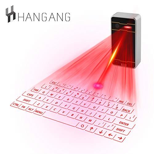 Mini Virtuelle Tastatur,Hangang Bluetooth Projektor Kabellose Tastatur Tragbare USB-Mini-Tastatur Mit Roter Projektion Virtuelles  für Smartphone PC und Tablets