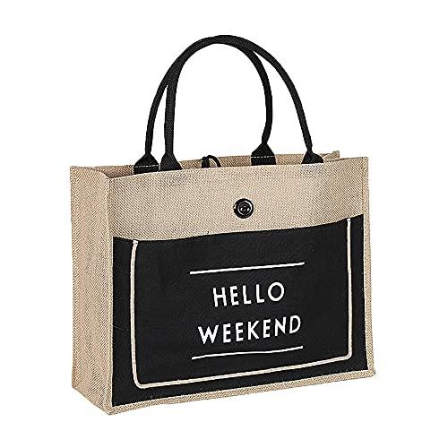 SOCOHOME sac de toile de jute, Grand sac étanche pliable Sac en jute femme, Sac fourre-tout sac de toile de jute plage
