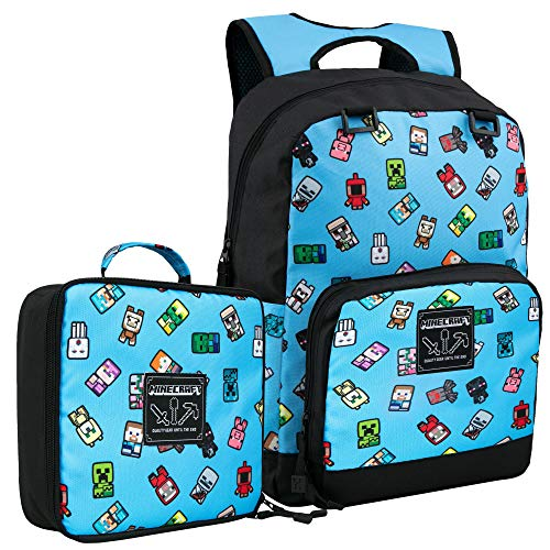 JINX Minecraft Bobble Mobs Kids Backpack & Lunch Bag Combo Set, Blue, 17""