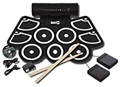 Drum pads provide realistic expression; similar sounds to a non-electric drum kit 9 drums pads with variety of sounds: Crash cymbal, high tom, Snare, open/close hi-hat, low floor tom, low-mid to, ride cymbal USB MIDI connection enables musician to up...