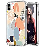 ICEDIO iPhone X Case with Screen Protector,iPhone Xs Case Clear with Multi-Colored Painting Patterns for Girls Women,Shockproof Slim Fit TPU Cover Protective Phone Case for iPhone X/iPhone Xs