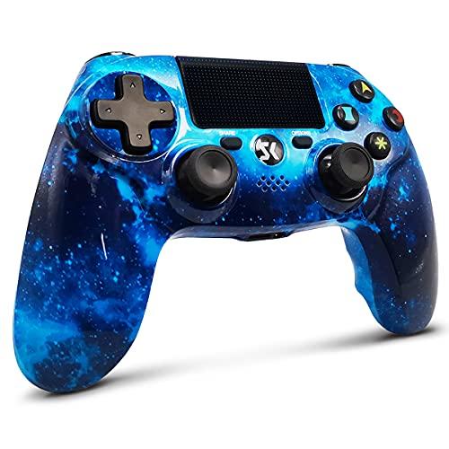 Lioeo Mando para PS4 Inalambricos, Mando para PS4 Gamepad de Doble Vibración Shcok Six-Axis con Touch Pad y Conector de Audio para Playstation 4 / PS3 / PC (Universo Azul)