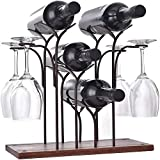 DCIGNA Freestanding Metal Wine Rack with Glass Holder, Wood Tabletop Wine Rack Metal, Wine Glass Holder Rack, Hold 4 Wine Bottles and 4 Wine Glasses, Perfect for Home Decor, Bar, Wine Cel