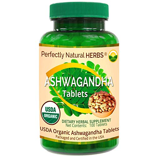 Organic Ginseng or Ashwagandha Tablets, USDA Certified, 500 mg, 100 per Bottle by Perfectly Natural Herbs