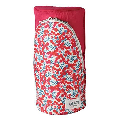ペンケース 化粧ポーチ スリム 大容量 立つコンパクトかわいい機能的ワンタッチスタンドスマスタ (レッド×花柄) (101f-redha)