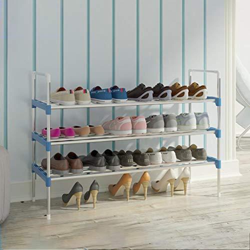 M-YN Zapatero Estante de Almacenamiento Ajustable de 3/4/5 Niveles de Acero del Estante for Zapatos, Ideal for Pasillo, baño, Sala de Estar fácil de ensamblar Azul (Size : 3 Tier)