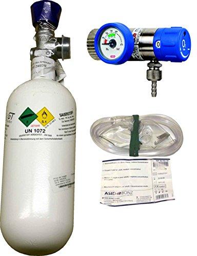 0,8 Liter Sauerstoffflasche gefüllt, mit Druckminderer Rescue 25, regelbar