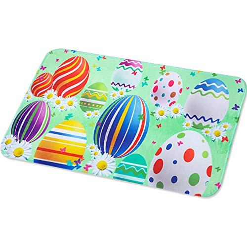 Happy Easter mat Spring Door Mat Eggs Easter Doormat Easter Flower Indoor Outdoor Welcome Doormat, 23.6 x 15.7 Inches