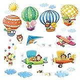 DECOWALL DAT-1406B1506B Globos Aerostáticos de Animales y Biplanos Vinilo Pegatinas Decorativas Adhesiva Pared Dormitorio Salón Guardería Habitación Infantiles Niños Bebés