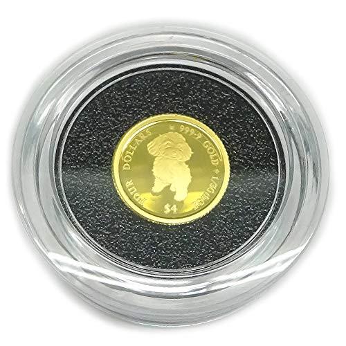 純金K24金プードル ドッグコイン1/30オンス(4$)2021年版金貨レザーケース入り裏面エリザベス女王英国王室造幣局(ロイヤルミント)製造 コインジュエリー【ギフトラッピング済み】