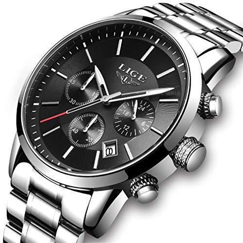 メンズ 腕時計 多機能 ブラック ステンレススチール メッシュベルト クロノグラフクォーツウォッチ 男性カレンダー 防水 うで時計 ゴルード