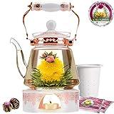 Coffret cadeau théière Buckingham Palace de la marque Teabloom et fleurs de thé - Théière en verre (1,2 l), couvercle en porcelaine, chauffe-thé, infuseur à thé en porcelaine, 2 roses de thé