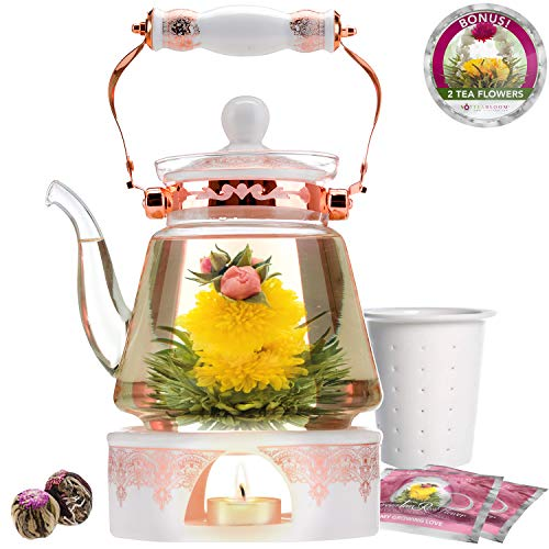 Buy Teabloom Buckingham Palace Teapot & Flowering Tea Gift Set (6 Pieces) - Stovetop Safe Glass Teap...