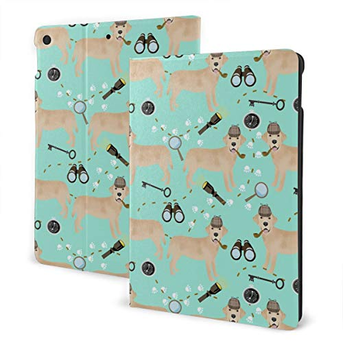Labrador Retriever Detective Green Magnifying Glass Design Pu Leather Ipad Pro Air 3 10.5/Ipad 7th Generation 10.2 Inch Case Cover Holder for Kids Girls Boy Women Men Accessories